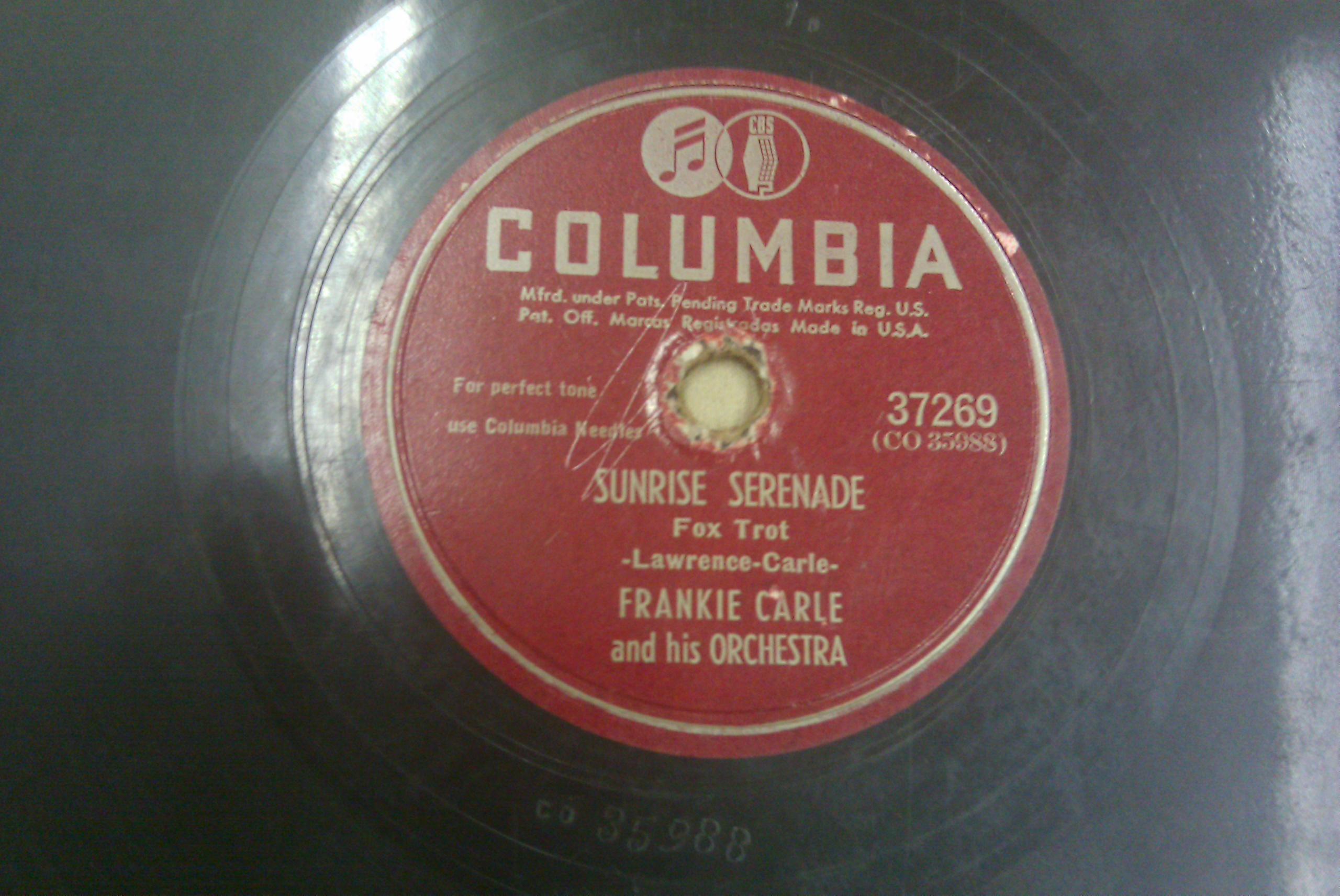 COLUMBIA 78 RECORD FRANKE CARLE - CARLE BOOGIE & FRANKIE CARLE - SUNRISE SERENADE